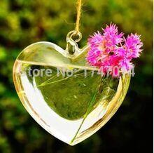 14*13 cm Handmade hanging glass vase in heart shape, water plant vase, transparent vase, wedding supplies(China (Mainland))