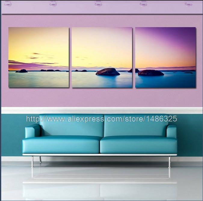 O envio gratuito de 3 peça arte da parede da lona parede pintura a óleo pintura a óleo moderna ondas do mar estilo de lona pintura do painel de arte(China (Mainland))