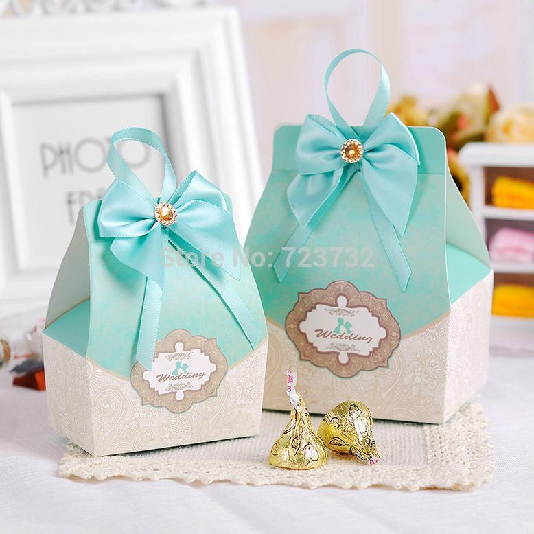 Party supplies packaging boxes blue creative candy boxes wedding gift boxes Medium size -100pcs/lot about 8.5cm*5.5cm*5cm(China (Mainland))