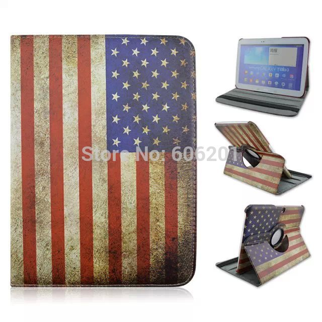United States Flag 360 Rotating Filp Stand PU Leather Tablet PC Protective Cover Case for Samsung Galaxy Tab 4 10.1inch T530(China (Mainland))