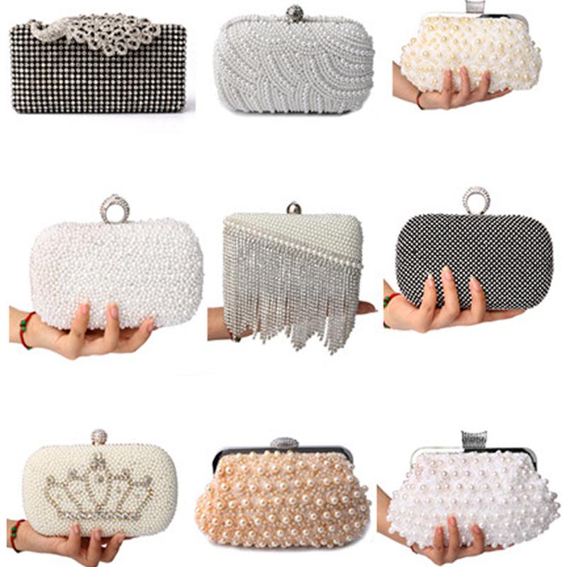 Mix design women fashion evening bags pearl wedding handbags crown diamonds beaded evening bags clutch shoulder chain purse bags()