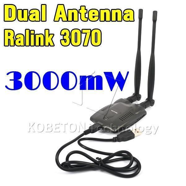 long rang BT-N9100 Beini USB Wifi Adapter Wireless Network Card Ralink 3070 High Power 3000mW Dual Antenna(China (Mainland))