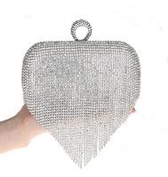 Леди невесты металлический красный сплетенный атласа для новобрачных сумочка клатч женщин муфты партия banquet кристаллы кошелек алмаз наплечная сумка