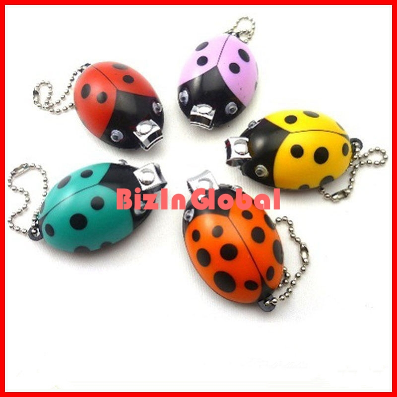 2 pcs Ladybug Nail Clippers Manicure Cutter Trimmer Key Chain Cute Cartoon Stationery free shipping(China (Mainland))