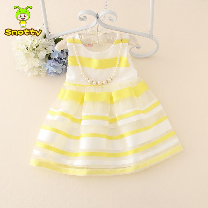 Elegant latest pearl striped kid dress for 1 2 3 4 old girls' dress baby girls birthday dresses summer fashion KD-14333(China (Mainland))