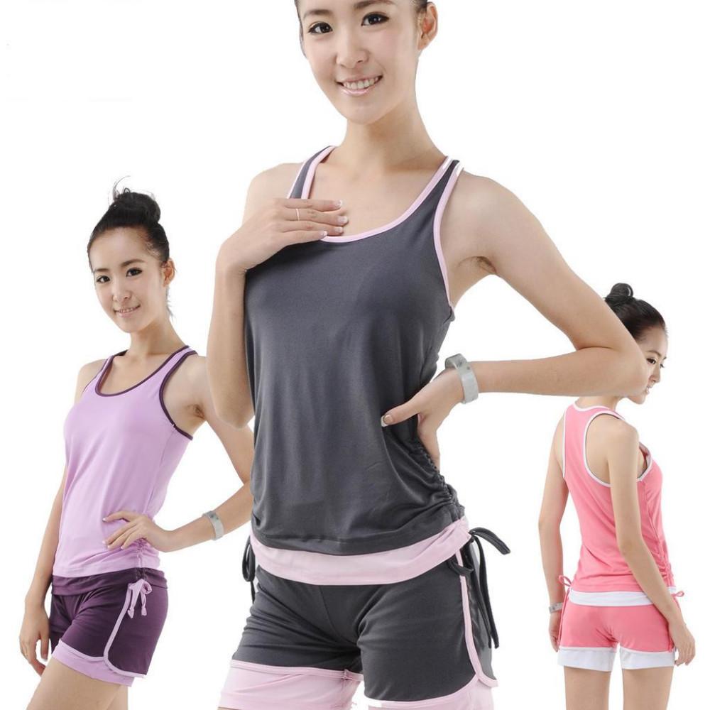 Women Sports Yoga 2 pcs Set Sleeveless Modal Soft Confortable Yoga cloth Running Wear Set Casual home Apparel(China (Mainland))