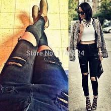 New 2015 Fashion Women High Quality Cotton Denim Black High Waist Jeans Female Skinny Pencil Pants