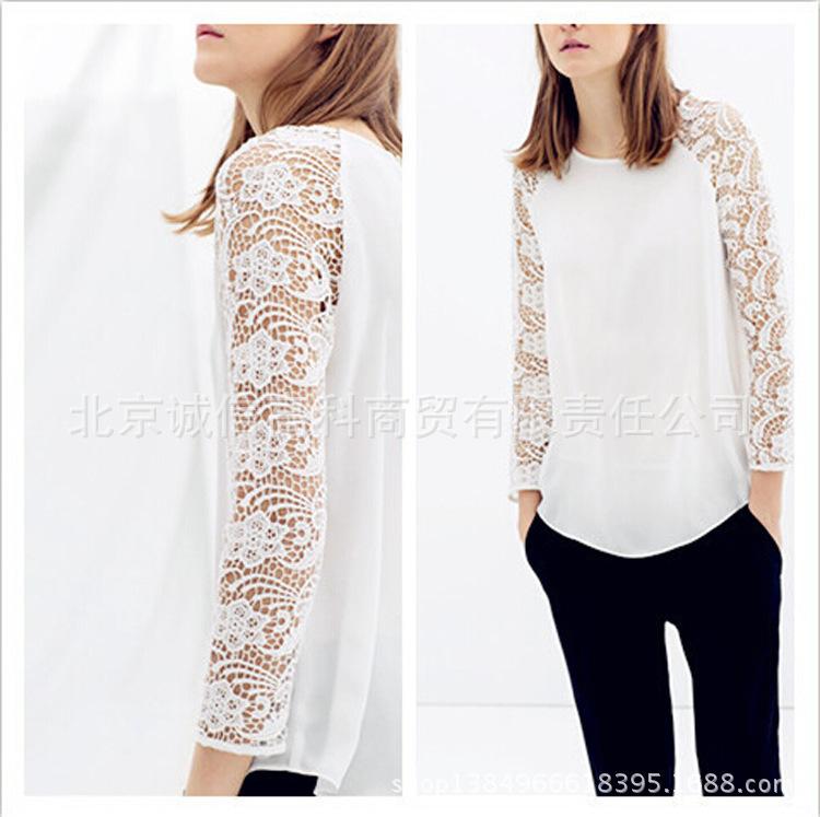 produto Fashion Women White Lace Crochet Blouse Shirt Croche Blusas Tops Long Sleeve Blouse Chiffon