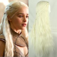 Girl Long Purecolor Light Golden Curls Daenerys Targaryen Cosplay 28inch Temperature Fiber Synthetic Hair Wigs Fast Shipping(China (Mainland))