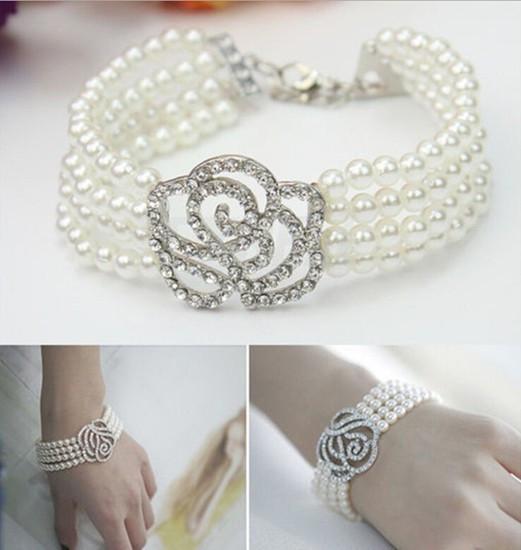 2015 Hot Fashion Rose Flower 4 Layer Pearl Women Elegant Pure White Bracelet Stylish Female Accessories(China (Mainland))