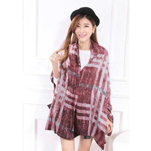 2015 New fashion silk scarf foulard Tartan Plaid printted 100% Rayon scarf for women summer shawl lencos de seda 6 colors(China (Mainland))