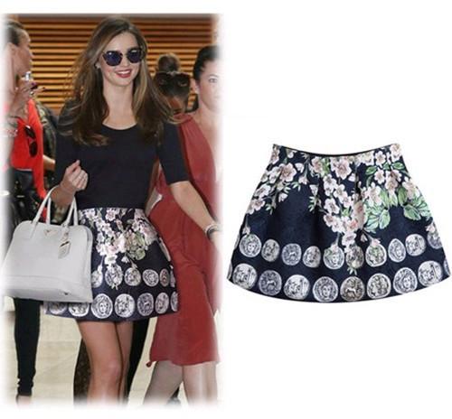 High Quality 2015 New Casual Fashion Stylish Women Princess Skirts Mini Skirt Girls Cute Ball Grown Printed Flower Skirt(China (Mainland))
