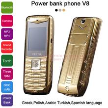 2015 Russian Spanish Polish Greek Arabic Turkish 3 SIM cards metal body 5800mAh power bank torch luxury mobile phone V8 P226