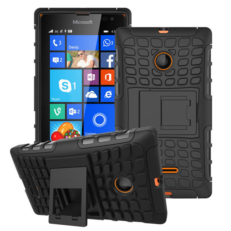 For Microsoft Nokia Lumia 435 Case Hybrid Kickstand Rugged Rubber Armor Hard PC+TPU 2 In 1 With Stand Function Cover Cases(China (Mainland))