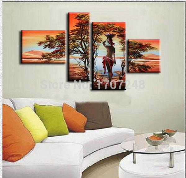 Pintado à mão 4 peça moderna óleo da paisagem na arte da parede da lona do sol animais africanos imagem para decoração presente original(China (Mainland))