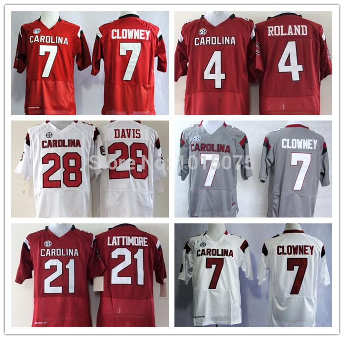 NCAA South Carolina Gamecock College Jersey 7# Jadeveon Clowney, Marcus Lattimore,Mike Davis,Shaq Roland White Red Black Grey(China (Mainland))
