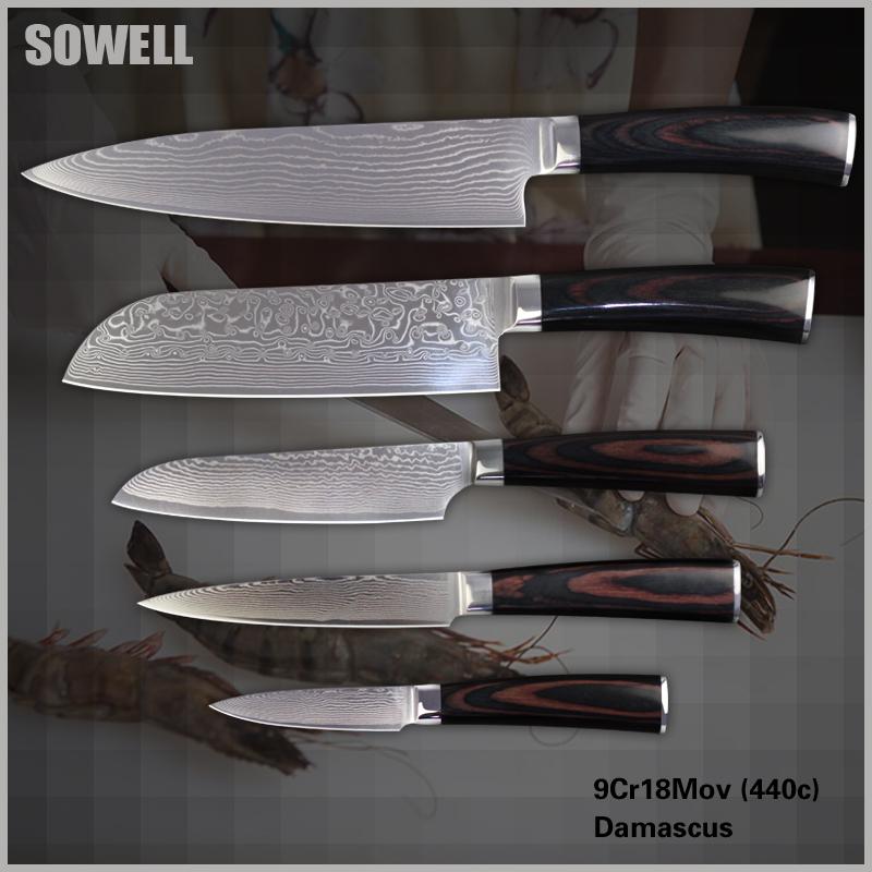 """Sowell pisau dapur set, 8 inch chef 7 inch Santoku 5 """" Santoku"""