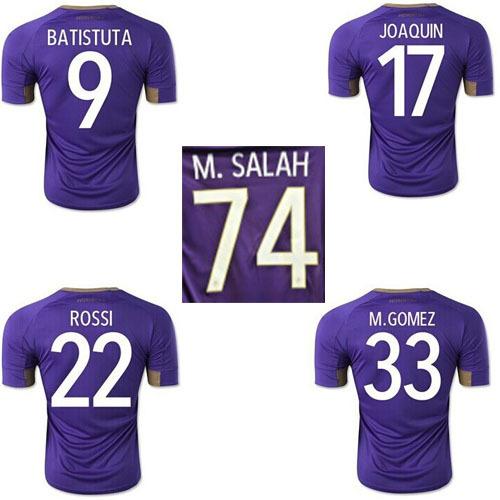 M.SALAH Fiorentina Soccer Jersey 14 15 Fiorentina Purple Football shirt M.GOMEZ ROSSI BATISTUTA soccer uniforms(China (Mainland))