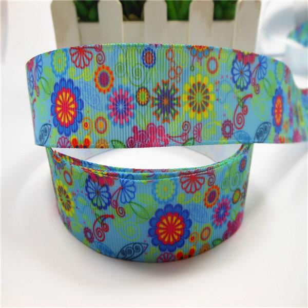 Midi-PG025-5768 New arrival 1'' (25mm) flowers printed Grosgrain ribbon make bow 100yards(China (Mainland))