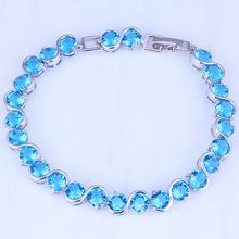 "Pure Clear Blue Sky Topaz ""S"" Shape Silver Bracelets for Womens Chain Length 20 CM Free Gift Bag B0054(China (Mainland))"