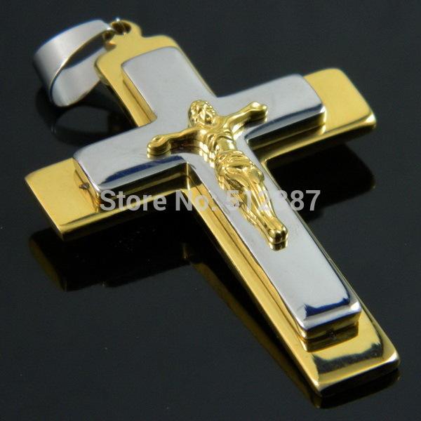 High Quality Men's Pendant 316L Stainless Steel Jesus Cross Pendant, Necklace Pendant Christmas Jewelry Fahion Pendant(China (Mainland))