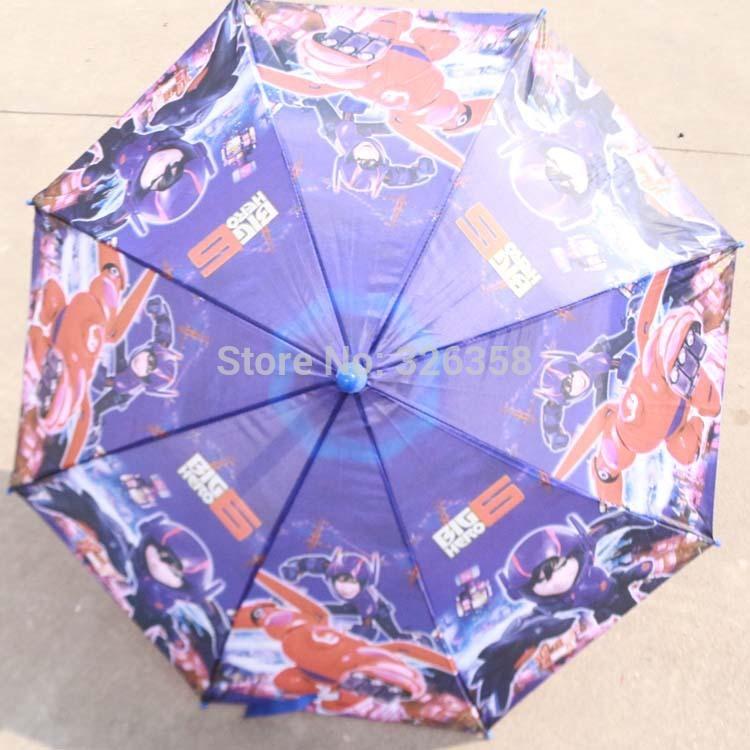 Children Big Hero 6 Umbrella/Boys 68CM Blue Baymax Sunny And Rainy Umbrella/Kids Cartoon Long-handle Beach Umbrella Paraguas(China (Mainland))