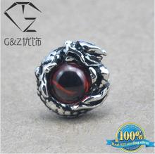 925 sterling silver earrings for men Garnet dragon eye stud earring 2015 new fashion thai silver man male jewelry E01