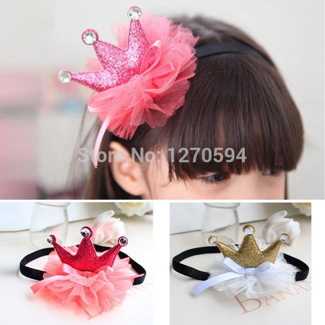Selected Quality Glitter Girl Tiara Headband Gold Silver Hairband Princess Head Wear Tulle Fashion Cute Blue Ribbon Headband(China (Mainland))