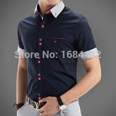 2015 Brand Men Shirts Short Sleeve Dress Men Fashion Quality Designer Patchwork Casual Camisa Slim Fit Men's Social Shirts(China (Mainland))
