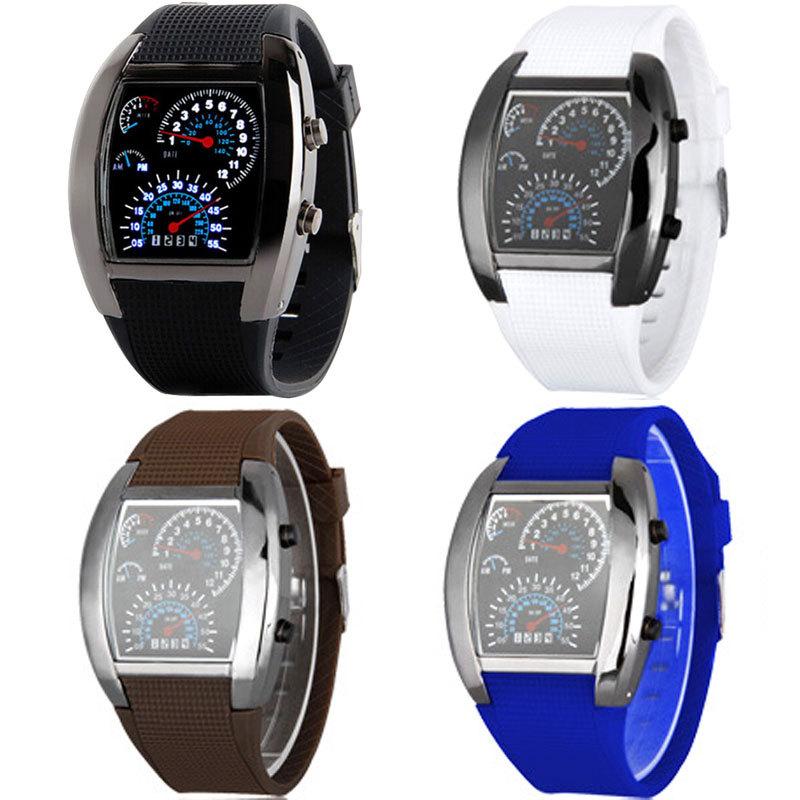 Blue&White LED Watch Black Rubber Speedometer Dot Matrix Boys Mens Gift(China (Mainland))