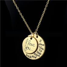 I love you to the moon and back necklace Valentine s day gifts unisex alloy Gold