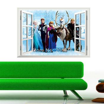 movie wall decals girls kids room decoration princess fairy tale story cartoon window stickers diy 3d wall art zooyoo1417