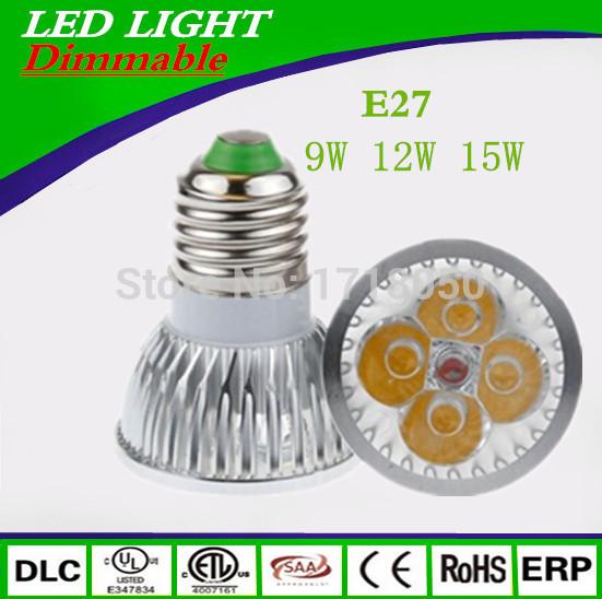 100pcs Super Bright 9W 12W 15W E27 LED Bulbs Light 110V 220V Dimmable Led Spotlights Warm/Natural/Cool White E27 LED downlight(China (Mainland))
