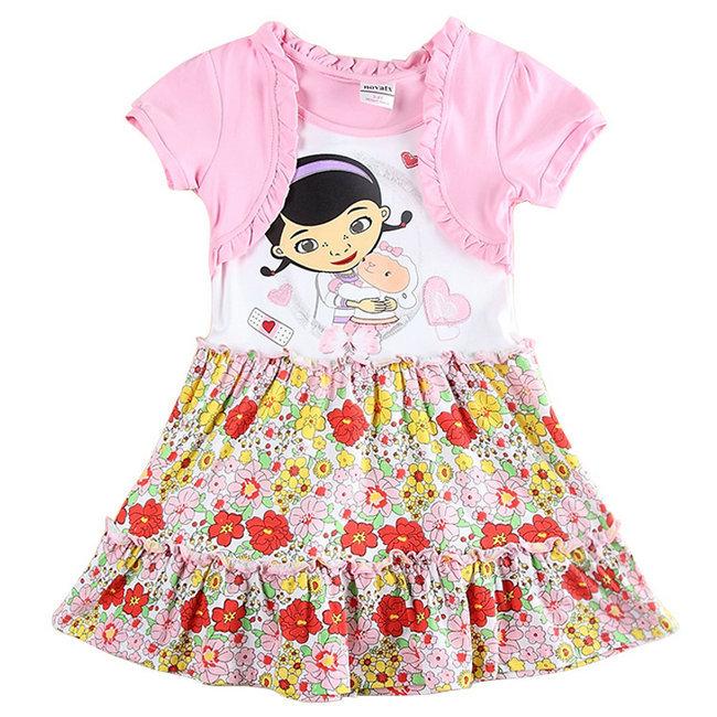 2015 New Summer Princess Dresses Girls Doc Mcstuffins dress Baby Kids Flowers Printed dress 100% Cotton Child Cartoon Clothing(China (Mainland))