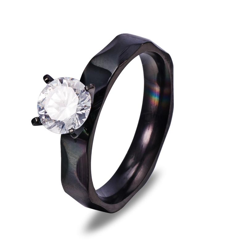 Antique Couple Promise Titanium Stone One Ring Joyas Alliances Marriage Men 316L Stainless Steel Moissanite Jewelry
