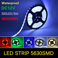 Waterproof 5M LED Strip 5630 (5730) SMD 60LEDs/M Flexible DC 12V more Bright than 5050 SMD, Red, Green, Blue, White, Warm White