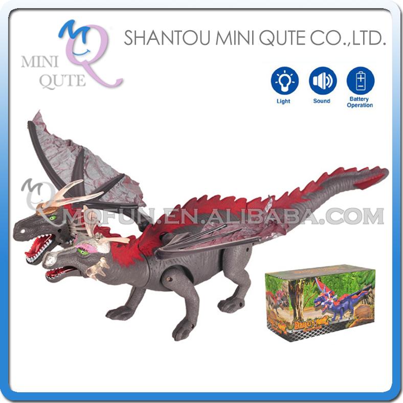 Mini Qute 48 cm plastic Godzilla Jurassic Park robot sound flash walk electronic dragon Twin Head Dinosaur model toy NO.6613(China (Mainland))