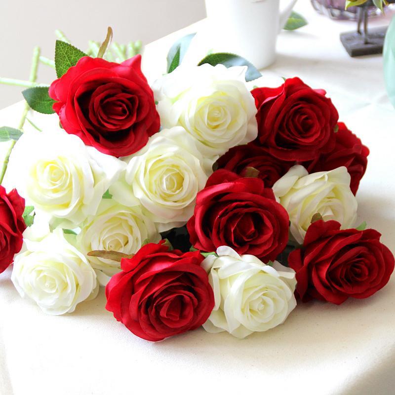 Beleza de seda Artificial Blooming Rose falsificadas flores decorativas Bouquets de casamento nupcial Home decoração arranjo 6 pçs/lote(China (Mainland))