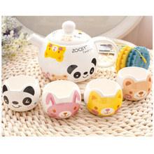 Kawaii Pigmented Ceramic Tea Sets 5 Pieces, 4 Tea Cup And 1 Teapot With 4 Cup Mat of Free Tea Pot Tetera Free Shipping Drinkware
