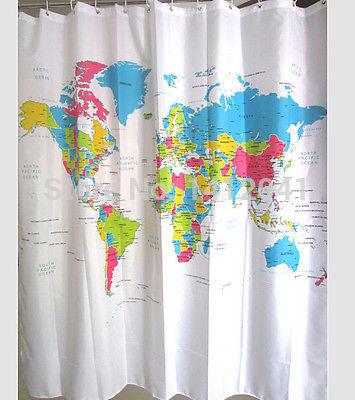 Fd1637 Firm mapa do mundo cortina de chuveiro do banheiro à prova d ' água tecido 72 polegada + 12 ganchos(China (Mainland))