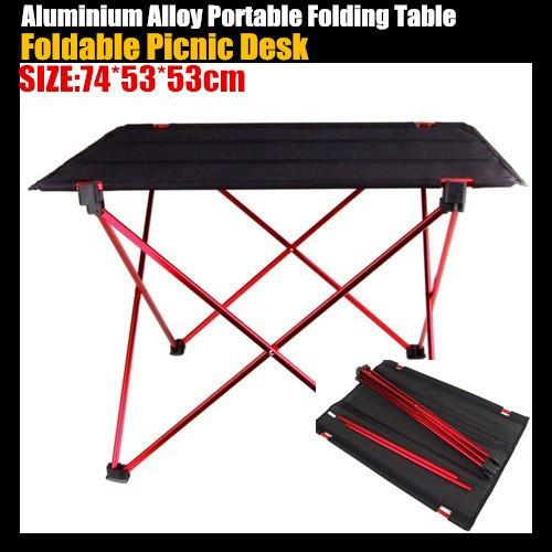 Ultra-light Aluminium Alloy Portable Folding Table / Foldable Picnic Dining Desk for Outdoor Camping Garden,74*53*53cm(