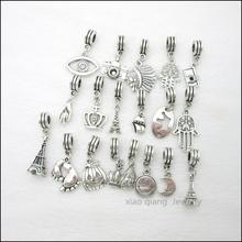 Free shipping!   19pcs  Mix Tibetan silver Bead Charm big hole pendant fit Pandora charm bracelet DIY pendant. X042