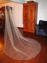 Glaring Long Cathedral Custom Crystal Edge Wedding Veils Comb One Layer 2.5 M(China (Mainland))
