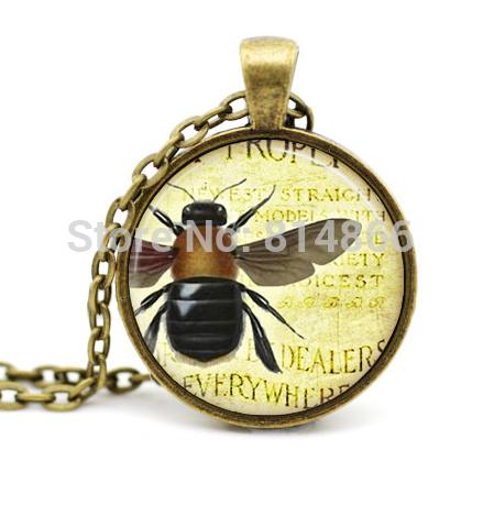 (BUY 3 GET 1 FREE )Bee Jewelry, Bumble Bee Necklace,Honeybee,Queen Bee Insect Art Pendant(China (Mainland))