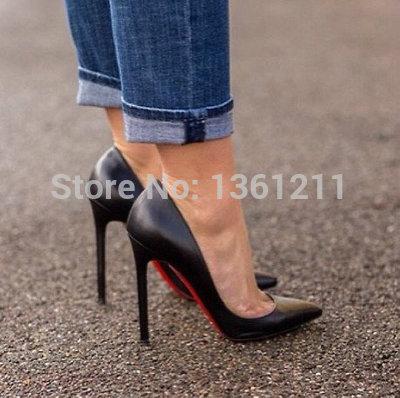 De calidad superior envío gratis cristianismo 120 negro señaló zapatos de tacón alto bombas genuino cuero zapatos de suela roja(China (Mainland))