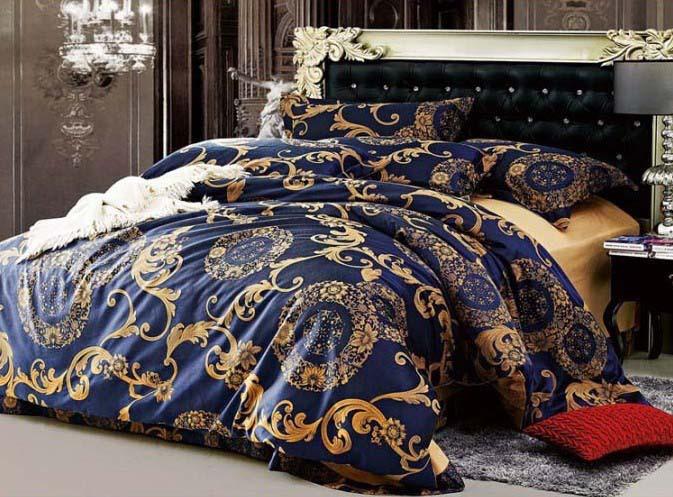 Luxury classic blue 4pcs tencel Tribute silk jacquard comforter/duvet/quilt cover bed set wedding bedlinen Queen/King size/2315(China (Mainland))