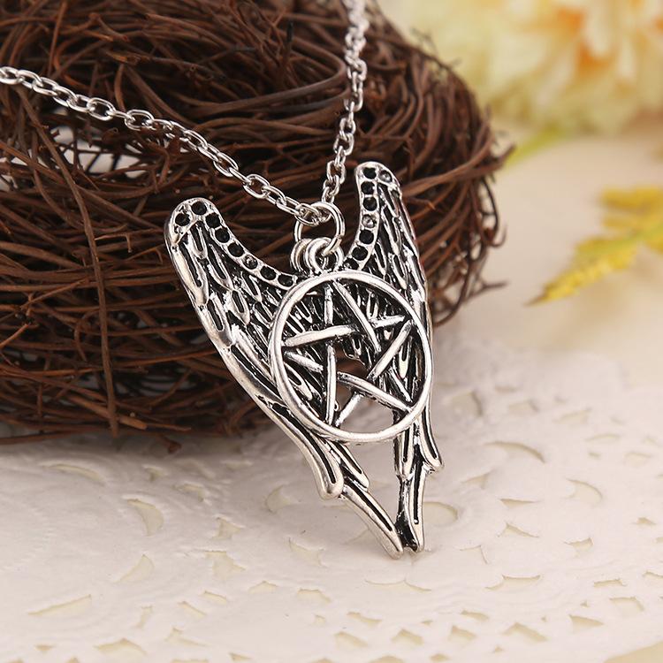 Antique Silver Necklace Supernatural Pentagram Necklace Castiel Wings Angel Wicca US SELLER Movie Jewelry