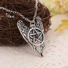 Antique Silver Necklace  Supernatural Pentagram Necklace Castiel Wings Angel Wicca US SELLER Movie Jewelry