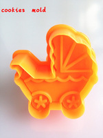 2015 free Shipping - 3D baby stroller design cookiesmold Biscuit Stamp cake/Toast mold Fondant decorating tools baby party