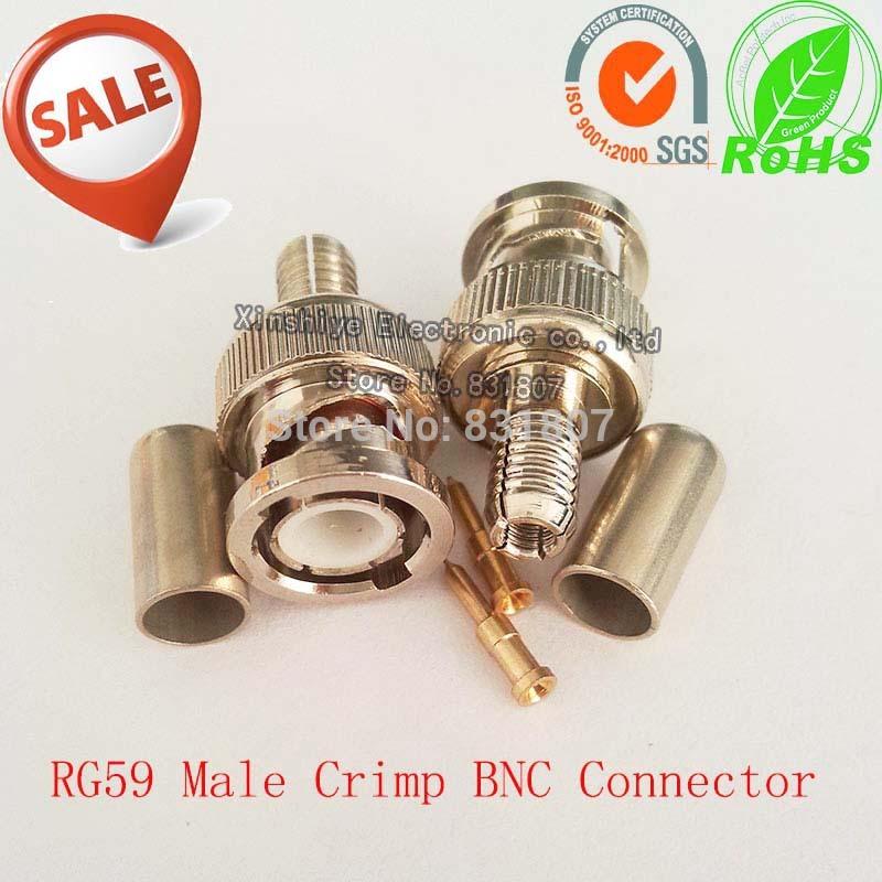 RG59 Crimp BNC Male Connector 75Ohm BNC Male Coaxial Crimp Connector for RG59 cable RF coaxial connector RG58 RG59 RG6 BNC plug(China (Mainland))